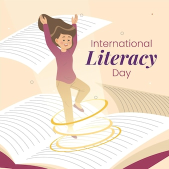 Hand drawn international literacy day with girl and book