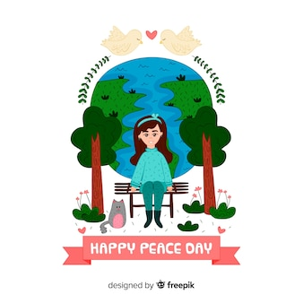 Hand drawn international peace day concept with white dove