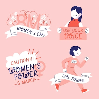 Hand-drawn international women's day badge collection