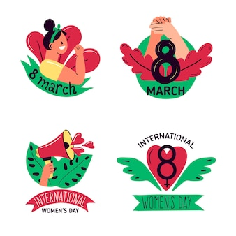 Hand-drawn international women's day badge set