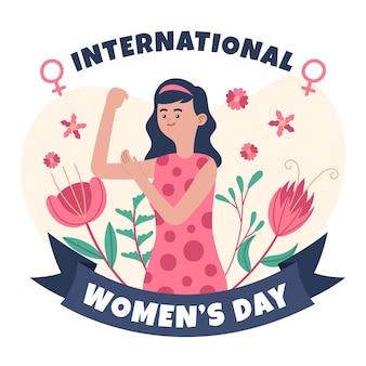 上腕二頭筋を示す女性と手描きの国際女性の日のイラスト