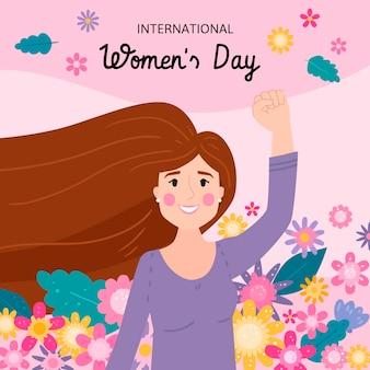 女性が手を振っている手描きの国際女性の日のイラスト