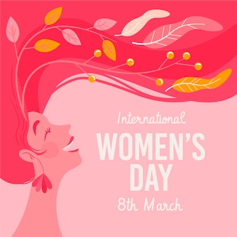 Hand-drawn international women's day illustration with woman with long hair