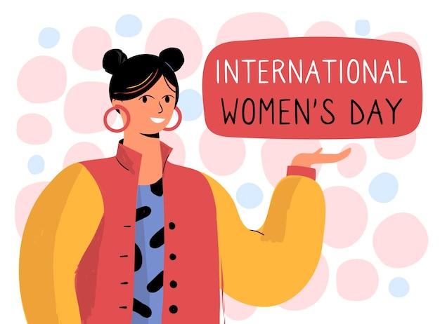 Нарисованная от руки иллюстрация международного женского дня с женщиной