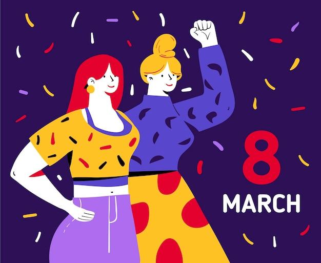 Нарисованная от руки иллюстрация международного женского дня с женщинами, поднимающими кулак и конфетти
