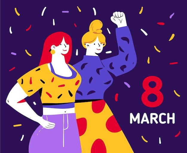 Hand-drawn international women's day illustration with women raising fist and confetti