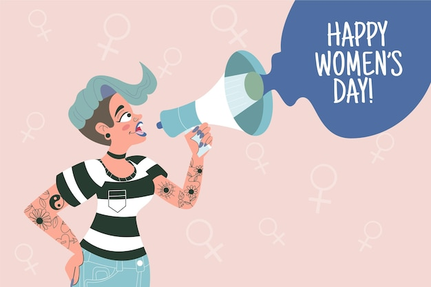Нарисованная рукой иллюстрация международного женского дня