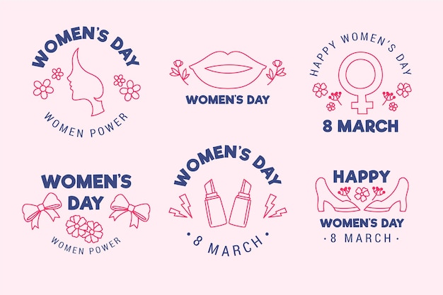 Hand drawn international women's day label collection