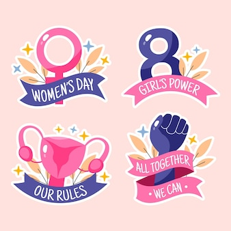 Hand drawn international women's day labels