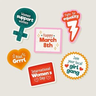 Нарисованные рукой этикетки международного женского дня