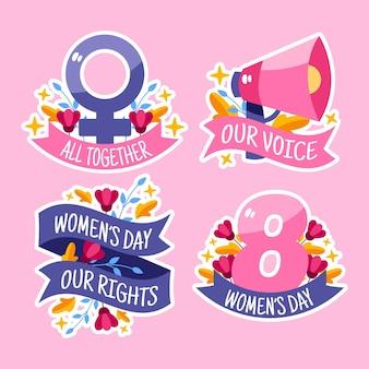 Etichette della giornata internazionale della donna disegnata a mano