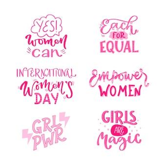 Коллекция рисованных значков международного женского дня