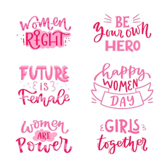 Hand-drawn international women's day lettering badge collection