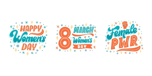 Hand drawn international women's day lettering label collection