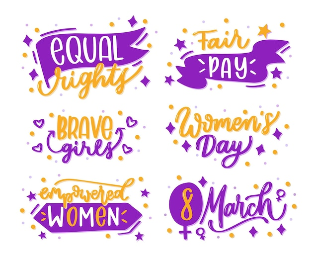 Hand drawn international women's day lettering label