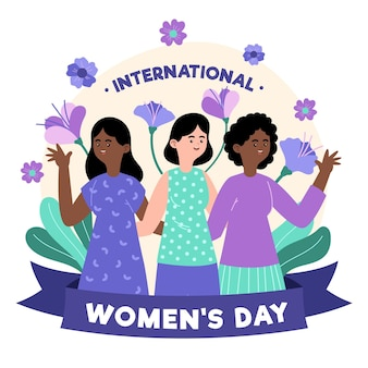 Hand drawn international women's day with women and flowers