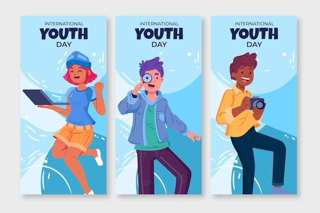 손으로 그린 국제 청소년의 날 배너 세트