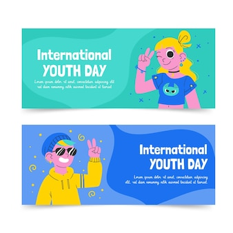Set di banner per la giornata internazionale della gioventù disegnati a mano