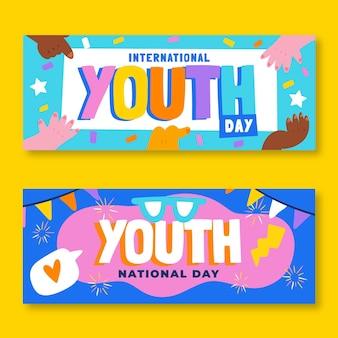 Набор рисованной баннеров международного дня молодежи