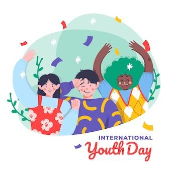 Hand drawn international youth day illustration