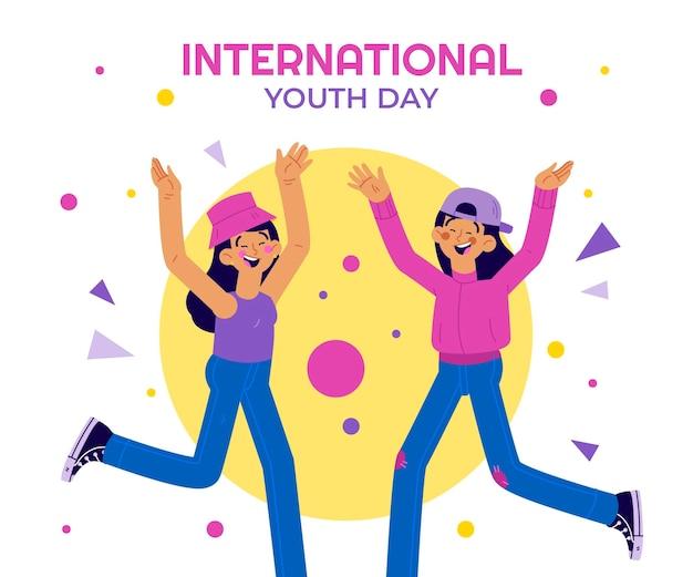Нарисованная рукой иллюстрация международного дня молодежи