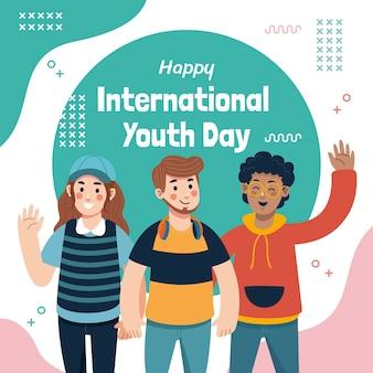 손으로 그린 국제 청소년의 날 그림