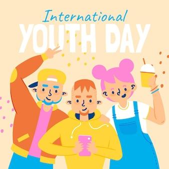 Illustrazione disegnata a mano della giornata internazionale della gioventù