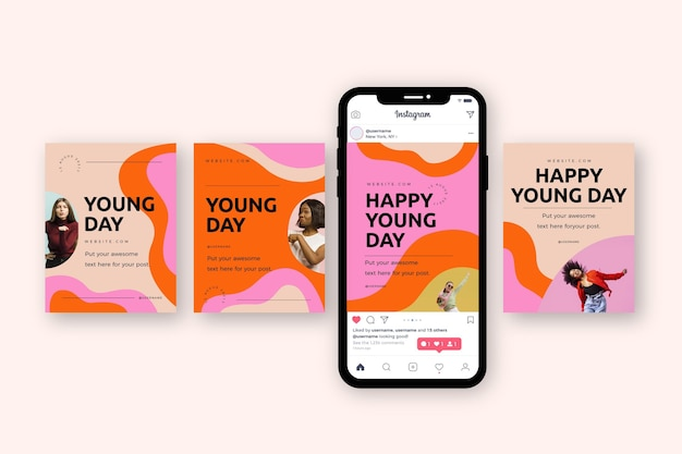 Hand drawn international youth day instagram posts collection with photo