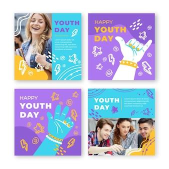 Collezione di post instagram per la giornata internazionale della gioventù disegnata a mano