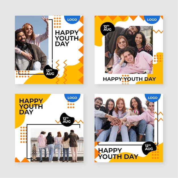 Hand drawn international youth day posts collection with photo