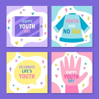 Hand drawn international youth day posts collection