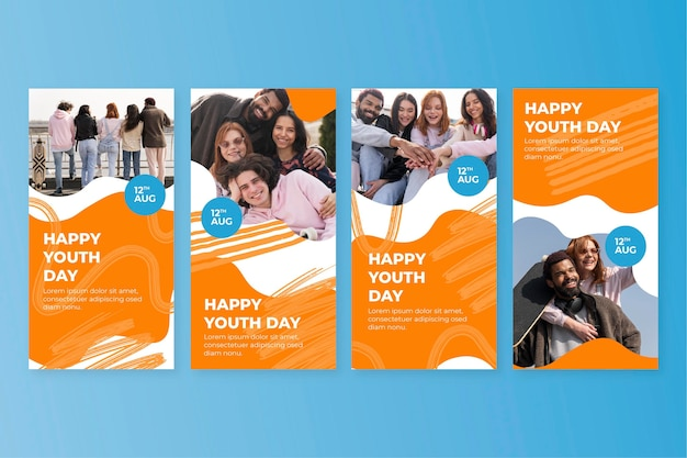 Hand drawn international youth day stories collection with photo