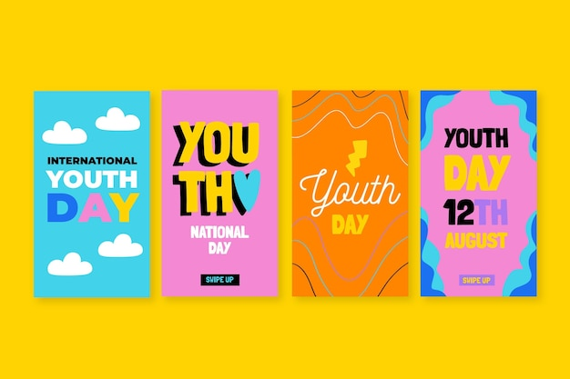 Hand drawn international youth day stories collection
