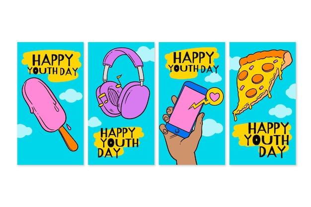 Raccolta di storie disegnate a mano per la giornata internazionale della gioventù