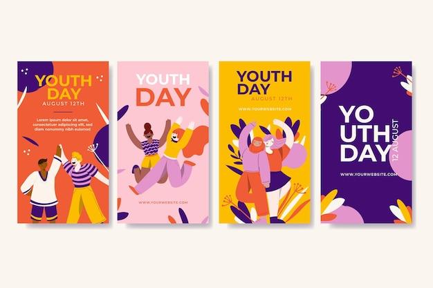 Raccolta di storie della giornata internazionale della gioventù disegnata a mano