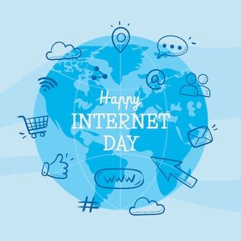 Hand drawn internet day illustration