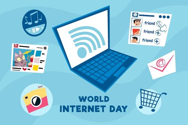 Нарисованная рукой иллюстрация дня интернета