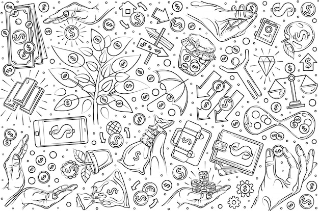 Hand drawn investment set doodle  background