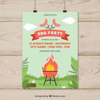 Hand drawn invitation to the barbecue