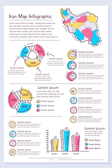 손으로 그린이란지도 infographic 템플릿