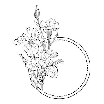 Ручной обращается ирисы цветочный шаблон логотипа