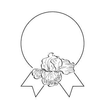 Hand drawn irises floral logo template