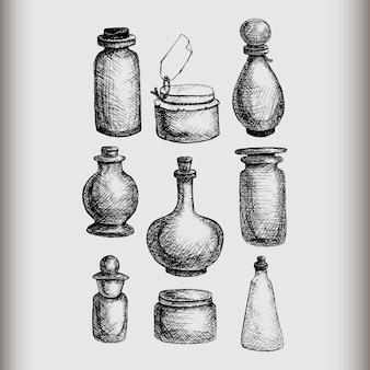 Hand drawn isolated vintage glass jars and bottles set. containers for jams, food, attar, otto, essential oil, oils, liquid, perfume.