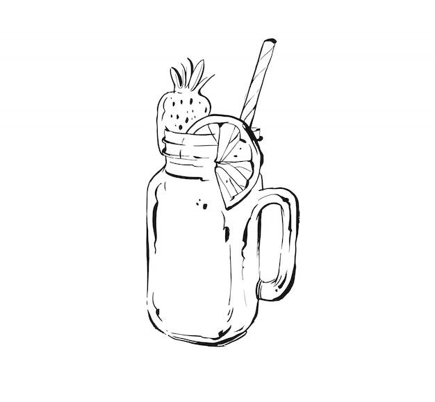 トロピカルフルーツレモネードシェイクドリンクの白い背景の上のガラスの石工の瓶で手描きの手描きのクッキングインクスケッチイラスト。ダイエットデトックス