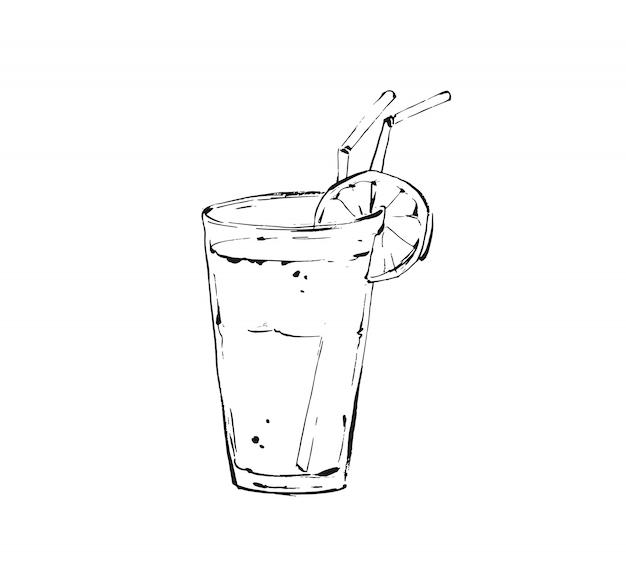 흰색 바탕에 유리 항아리에 열 대 레모네이드 쉐이크 음료의 손으로 그린 istic 요리 잉크 스케치 그림. 다이어트 해독
