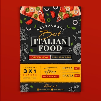 Hand drawn italian food a5 flyer template