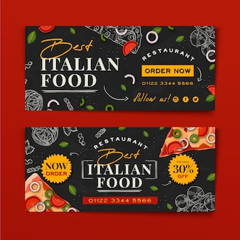 Hand drawn italian food banner design