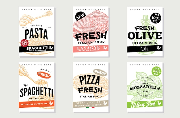 Hand drawn italian food flyers