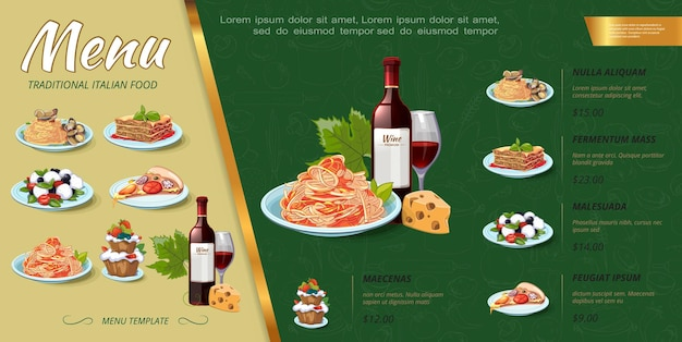 Hand drawn italian food menu concept with bottle of wine, cakes, mussels, pasta, spaghetti, pizza piece, salad, lasagna