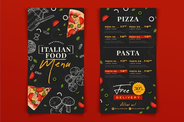 Hand drawn italian food restaurant menu